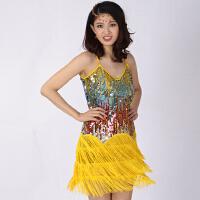 时尚新款拉丁舞演出服 拉丁舞练习裙 吊带彩亮片拉丁舞裙 连衣裙