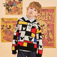 【抢购价:66.5元】迪士尼男童格子针织衫毛衣洋气潮