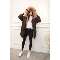 羽绒服女中长款2018新款大毛领加厚韩版女孩面包服亲子儿童外套