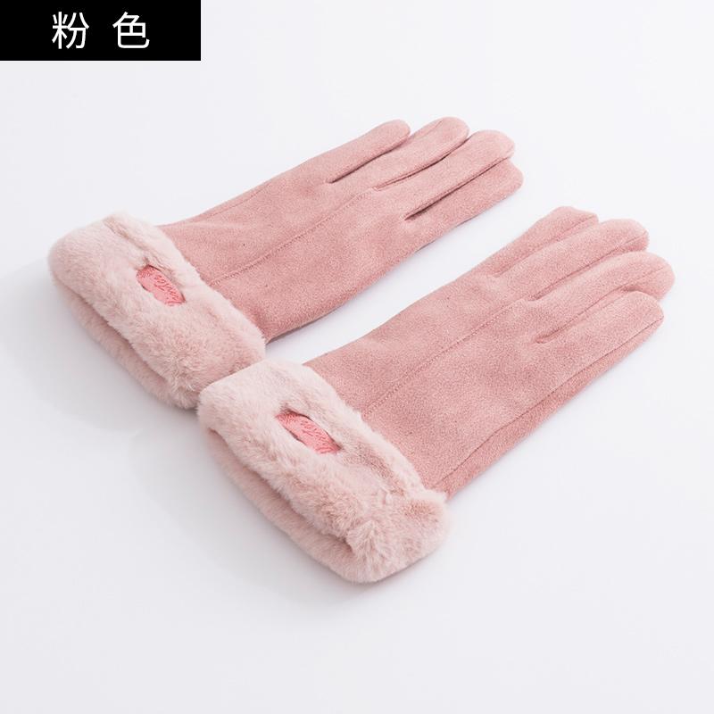 手套女士冬季版加绒保暖触屏加厚五指分指韩冬天骑车开车毛绒手套 品质保证 售后无忧 支持礼品卡付款