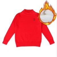 女童毛衣套头圆领加厚加绒打底毛衣秋大童半高领黑色红色针织衫 低领红色加绒 偏小一码