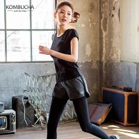 【女神新装】Kombucha女士速干透气修身显瘦运动健身跑步T恤文胸长裤三件套装RE100T3