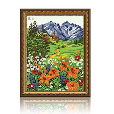 绘画手工 绘画 舞动色彩绘画 舞动色彩 远山 diy数字油画风景彩绘装饰