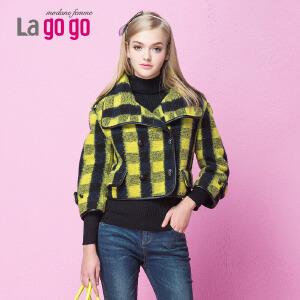 lagogo拉谷谷冬季新款时尚百搭短款外套