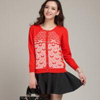 春季新款女士圆领纯羊绒衫开衫短款长袖修身针织毛衣
