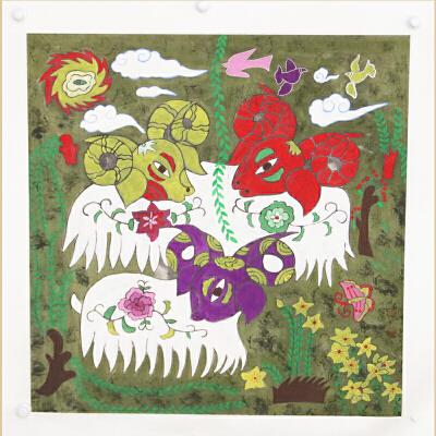 《三羊开泰》中国农民画之乡,山东青州十佳农民画画家之一王化芹