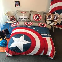 君别美国队长盾牌图案四件套漫威英雄男孩三件套床上用品 深蓝色 正义- 1.8m(6英尺)床 款【四季使用】 床笠式