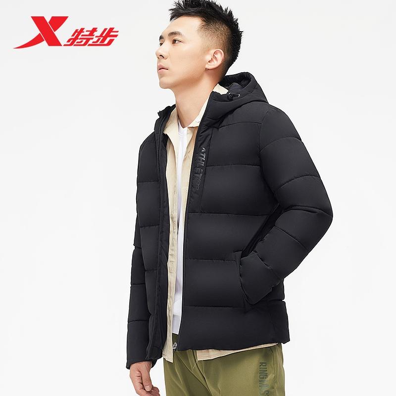 特步棉服加厚外套男冬季保暖2019冬季新款男士连帽运动厚外套上衣881429189253