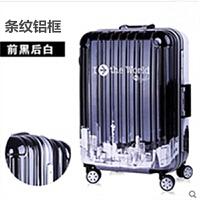 韩版小清新个性铝框登机密码20万向轮卡通旅行箱女潮学生可爱涂鸦 黑