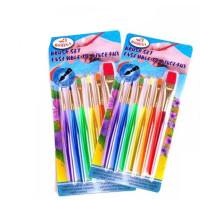 儿童颜料画刷 彩色透明塑料杆 宝宝画笔 6支装 水彩水粉手工笔