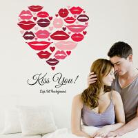 创意客厅电视背景墙贴纸玻璃贴衣橱卧室床头浪漫装饰红唇印墙贴画J 唇印 中