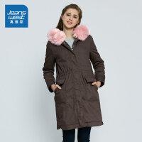 真维斯女装 冬装 纯棉中长宽松连帽棉外套JW-74-222510