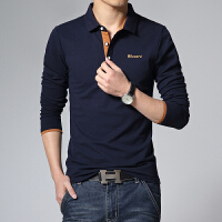 POLO衫 男新款秋季休闲长袖T恤 男装纯色翻领体恤衫男