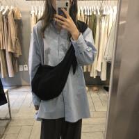 韩版夏季博主帆布单肩包系带打结饺子包斜跨包女包