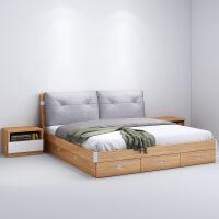 北欧床实木床北欧 双人1.8米1.5米高箱抽屉气动储物主卧双人床 现代简约 +护脊床垫
