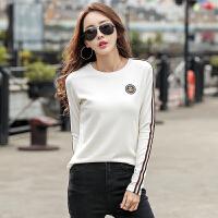 【新春惊喜价】Coolmuch女士修身显瘦条纹拼接长袖T恤打底衫JW5015