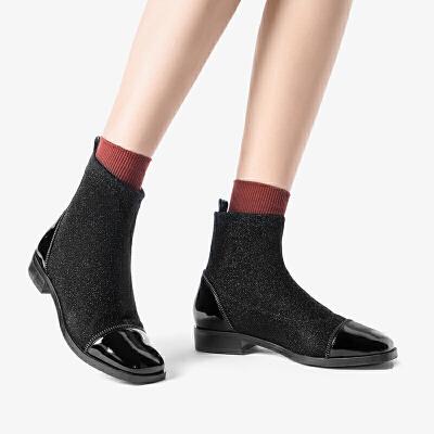 莱尔斯丹 秋新款弹力针织靴网红瘦瘦靴袜靴女粗跟平底短靴24002 弹力针织袜靴女粗跟平底短靴