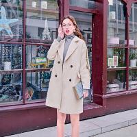 毛菇小象冬双排扣毛呢外套女中长款2019新款时尚个性加厚呢子大衣