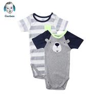 美国直邮 Gerber嘉宝婴儿连体包屁衣2件套 狗熊图案 包邮包税