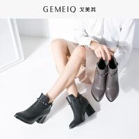 戈美其秋冬新品粗跟休闲女鞋加绒高跟棉鞋时装靴复古短靴