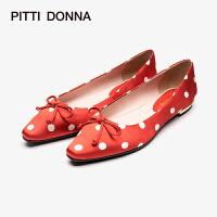 PITTI DONNA 春新品尖头蝴蝶结波点低跟女单鞋 AM10801