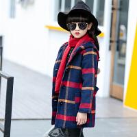 女童呢子大衣秋装韩版加厚中长款毛呢外套中大童外套潮 格子图片色