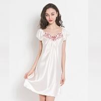 性感睡衣女夏季睡裙短袖冰丝薄款宽松大码丝绸公主中裙家居服 藕粉色 61705