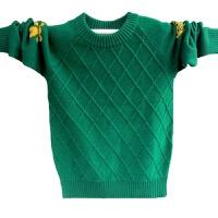 男童羊毛衫秋圆领毛衣套头衫纯色中大童10毛线衣百搭针织衫