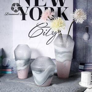 玻璃花瓶简约现代彩色摹刻花纹渐变水培插花器家居工艺摆件