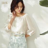 【3折到手价:72元】爱客绿色中袖雪纺衫2019夏季新款单排扣设计感女小众轻熟上衣女