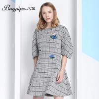 BAGPIPE/风笛2017新款女士春季连衣裙英伦格子女裙公主裙修身