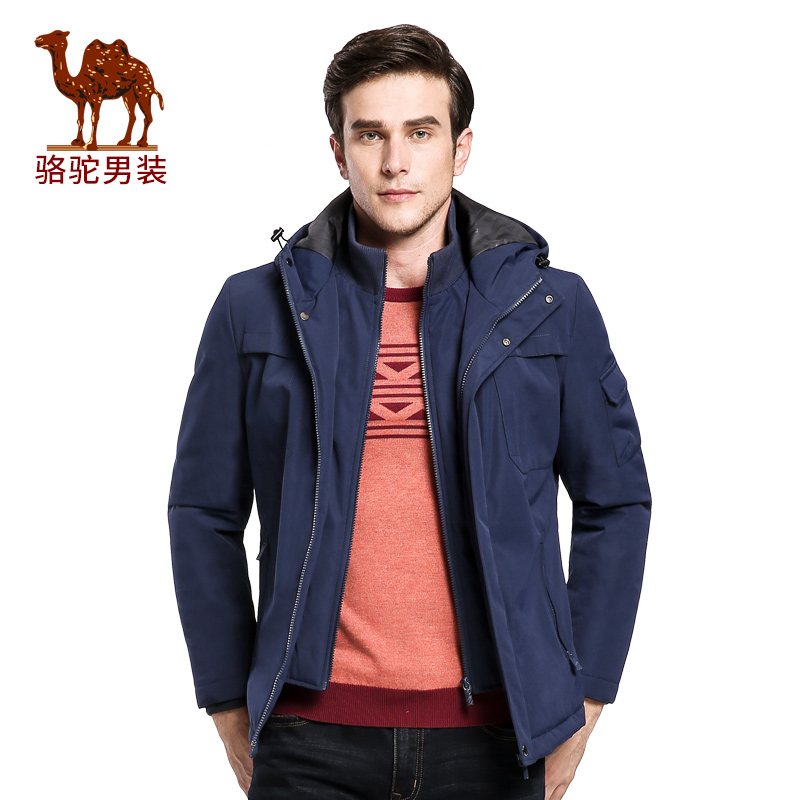 骆驼男装棉衣   冬季青年连帽商务休闲外套纯色棉服男