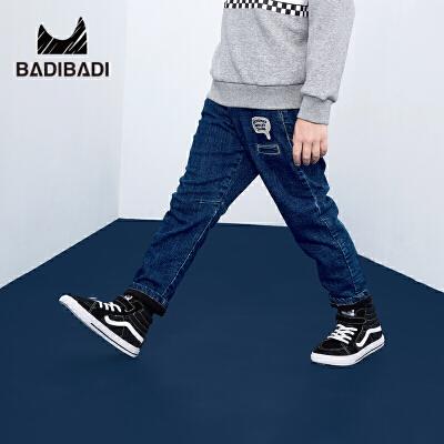 【大牌日3件2折:66】巴拉巴拉旗下 巴帝巴帝男童加绒牛仔裤2018冬季新款