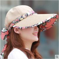 女士帽子夏天户外防晒遮阳帽太阳帽防紫外线可折叠大沿沙滩帽