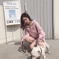 套装女春两件套18新款韩版软妹俏皮时髦粉色省心搭配运动休闲套装 粉色 S