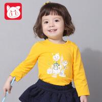 小猪班纳童装女宝宝长袖T恤女童打底衫秋装新款卡通儿童圆领上衣