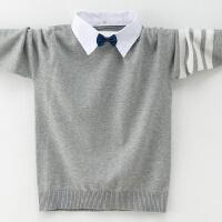 男童纯棉毛衣衬衫领中大童套头加绒加厚线衣装假两件针织线衫潮