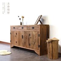 老榆木门板餐边柜玄关收纳柜实木家具风化复古客厅中式柜厂家 4门