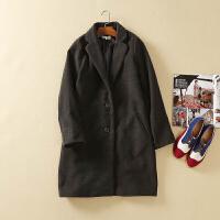 单排扣西装领中长款风衣外套女秋冬款呢大衣韩版修身显瘦