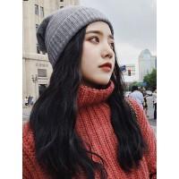 韩版百搭女士毛线帽 新款加厚保暖帽子女 大码简约时尚针织帽子