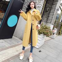 毛呢外套 女士翻领中长款过膝呢子外套2020年冬季新款韩版时尚潮流女式宽松洋气女装呢子大衣