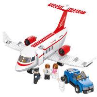小鲁班益智积木拼插玩具 拼装玩具 飞机拼插模型概念飞机B0365