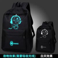 韩版男旅行包潮休闲电脑包中生初中学生书包时尚校园 带帽
