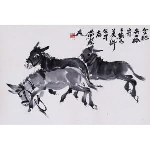 中国画艺术大师,收藏家。黄胄款(附出版)《三_驴_图》