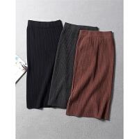 欧美风显瘦显身材松紧高腰加厚螺纹针织包臀裙半身裙秋冬女装0.34