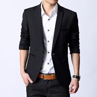2018新款男士西装 青年小西服男 黑色修身上衣 职业休闲春秋学生 大码外套 经典黑 937