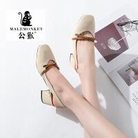 公猴夏季浅口单鞋女中跟百搭复古仙女鞋时装玛丽珍鞋韩版粗跟包头凉鞋