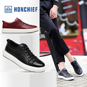 HONCHIEF 红蜻蜓旗下 冬季新款休闲板鞋系带圆头男鞋真皮休闲鞋
