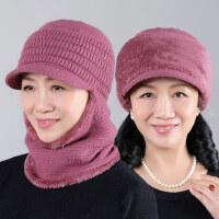 户外女士护耳围脖一体帽子 新款毛线针织奶奶帽子 中老年兔毛帽子女妈妈帽