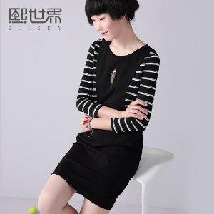 熙世界秋季套头圆领拼接七分袖假两件连衣裙女装193SL211